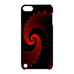 Red Fractal Spiral Apple Ipod Touch 5 Hardshell Case With Stand by Simbadda