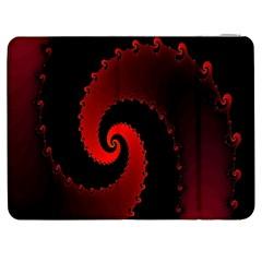 Red Fractal Spiral Samsung Galaxy Tab 7  P1000 Flip Case by Simbadda