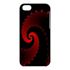 Red Fractal Spiral Apple Iphone 5c Hardshell Case by Simbadda