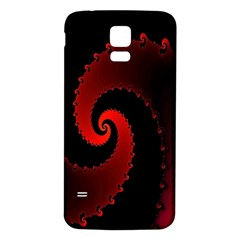 Red Fractal Spiral Samsung Galaxy S5 Back Case (white) by Simbadda