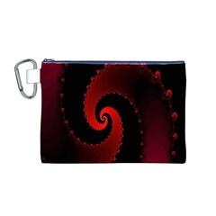 Red Fractal Spiral Canvas Cosmetic Bag (m) by Simbadda