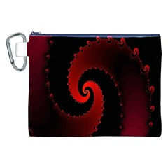 Red Fractal Spiral Canvas Cosmetic Bag (xxl) by Simbadda
