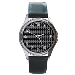 Chevron Wave Line Grey Black Triangle Round Metal Watch by Alisyart