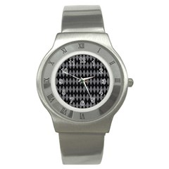 Chevron Wave Line Grey Black Triangle Stainless Steel Watch by Alisyart