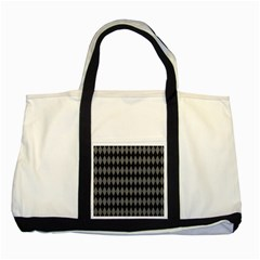 Chevron Wave Line Grey Black Triangle Two Tone Tote Bag by Alisyart