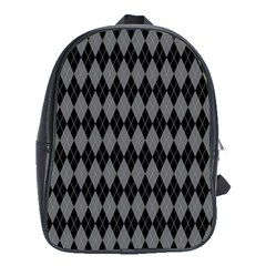 Chevron Wave Line Grey Black Triangle School Bags(large)  by Alisyart