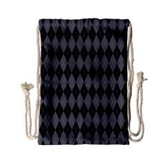 Chevron Wave Line Grey Black Triangle Drawstring Bag (small) by Alisyart