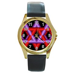 Star Of David Round Gold Metal Watch by Simbadda