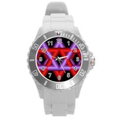 Star Of David Round Plastic Sport Watch (l) by Simbadda