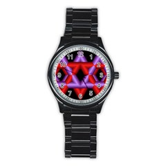 Star Of David Stainless Steel Round Watch by Simbadda