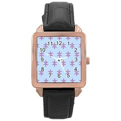 Flower Floral Different Colours Blue Purple Rose Gold Leather Watch  by Alisyart