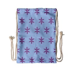 Flower Floral Different Colours Blue Purple Drawstring Bag (small) by Alisyart