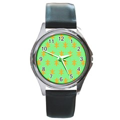 Flower Floral Different Colours Green Orange Round Metal Watch by Alisyart