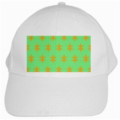 Flower Floral Different Colours Green Orange White Cap by Alisyart