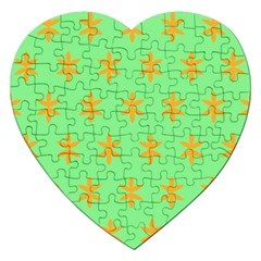 Flower Floral Different Colours Green Orange Jigsaw Puzzle (heart) by Alisyart