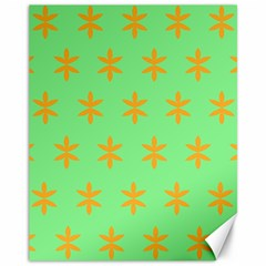 Flower Floral Different Colours Green Orange Canvas 11  X 14   by Alisyart