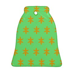 Flower Floral Different Colours Green Orange Bell Ornament (two Sides) by Alisyart