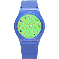 Flower Floral Different Colours Green Orange Round Plastic Sport Watch (s) by Alisyart