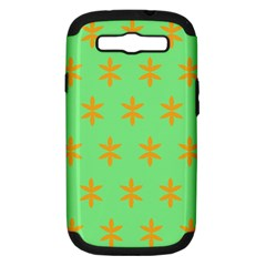 Flower Floral Different Colours Green Orange Samsung Galaxy S Iii Hardshell Case (pc+silicone) by Alisyart