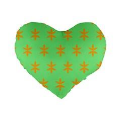 Flower Floral Different Colours Green Orange Standard 16  Premium Heart Shape Cushions by Alisyart