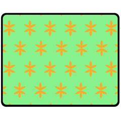 Flower Floral Different Colours Green Orange Double Sided Fleece Blanket (medium)  by Alisyart