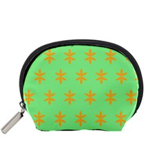 Flower Floral Different Colours Green Orange Accessory Pouches (small)  by Alisyart