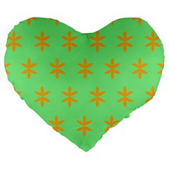 Flower Floral Different Colours Green Orange Large 19  Premium Flano Heart Shape Cushions by Alisyart