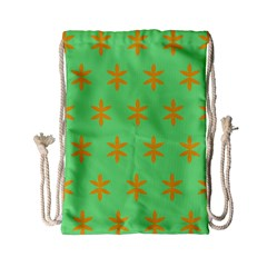Flower Floral Different Colours Green Orange Drawstring Bag (small) by Alisyart