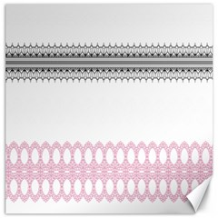 Crown King Quinn Chevron Wave Pink Black Canvas 16  X 16   by Alisyart
