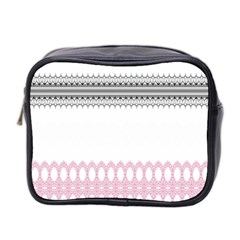 Crown King Quinn Chevron Wave Pink Black Mini Toiletries Bag 2 Side by Alisyart