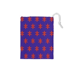 Flower Floral Different Colours Purple Orange Drawstring Pouches (small)  by Alisyart