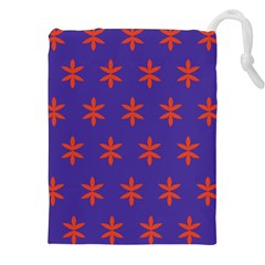 Flower Floral Different Colours Purple Orange Drawstring Pouches (xxl) by Alisyart