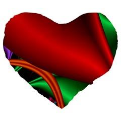 Fractal Construction Large 19  Premium Heart Shape Cushions by Simbadda