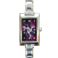 Colorful Fractal Background Rectangle Italian Charm Watch by Simbadda