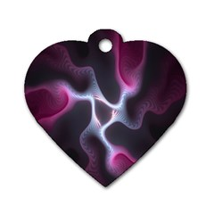 Colorful Fractal Background Dog Tag Heart (two Sides) by Simbadda