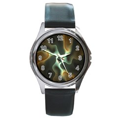 Colorful Fractal Background Round Metal Watch by Simbadda