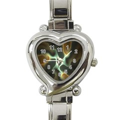 Colorful Fractal Background Heart Italian Charm Watch by Simbadda