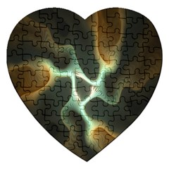 Colorful Fractal Background Jigsaw Puzzle (heart) by Simbadda