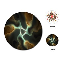 Colorful Fractal Background Playing Cards (round)