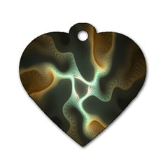 Colorful Fractal Background Dog Tag Heart (one Side) by Simbadda