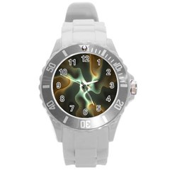 Colorful Fractal Background Round Plastic Sport Watch (l) by Simbadda