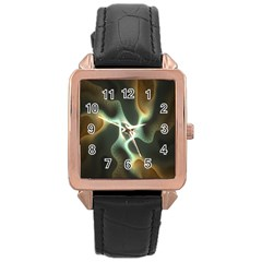 Colorful Fractal Background Rose Gold Leather Watch  by Simbadda