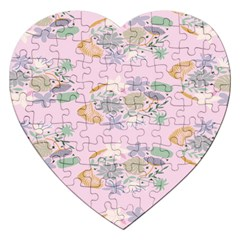 Floral Flower Rose Sunflower Star Leaf Pink Green Blue Jigsaw Puzzle (heart) by Alisyart