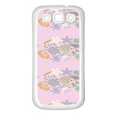Floral Flower Rose Sunflower Star Leaf Pink Green Blue Samsung Galaxy S3 Back Case (white) by Alisyart