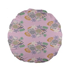 Floral Flower Rose Sunflower Star Leaf Pink Green Blue Standard 15  Premium Flano Round Cushions by Alisyart