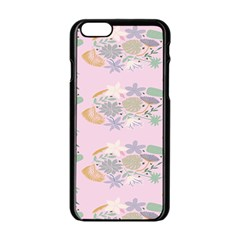 Floral Flower Rose Sunflower Star Leaf Pink Green Blue Apple Iphone 6/6s Black Enamel Case by Alisyart