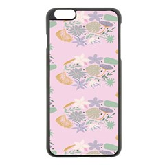 Floral Flower Rose Sunflower Star Leaf Pink Green Blue Apple Iphone 6 Plus/6s Plus Black Enamel Case by Alisyart