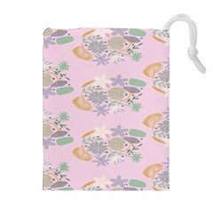 Floral Flower Rose Sunflower Star Leaf Pink Green Blue Drawstring Pouches (extra Large) by Alisyart