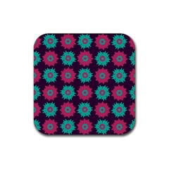 Flower Floral Rose Sunflower Purple Blue Rubber Square Coaster (4 Pack)  by Alisyart