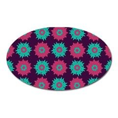Flower Floral Rose Sunflower Purple Blue Oval Magnet by Alisyart